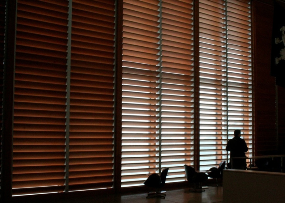 Over-sized wooden venetian blinds in the Art Gallery of Ontario