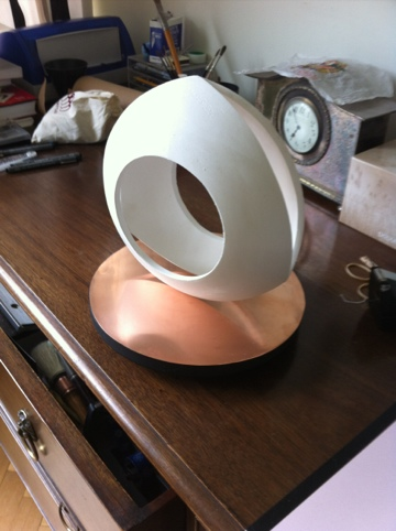 Geometric Sculpture - Relueaux Triangle on a copper rotating base