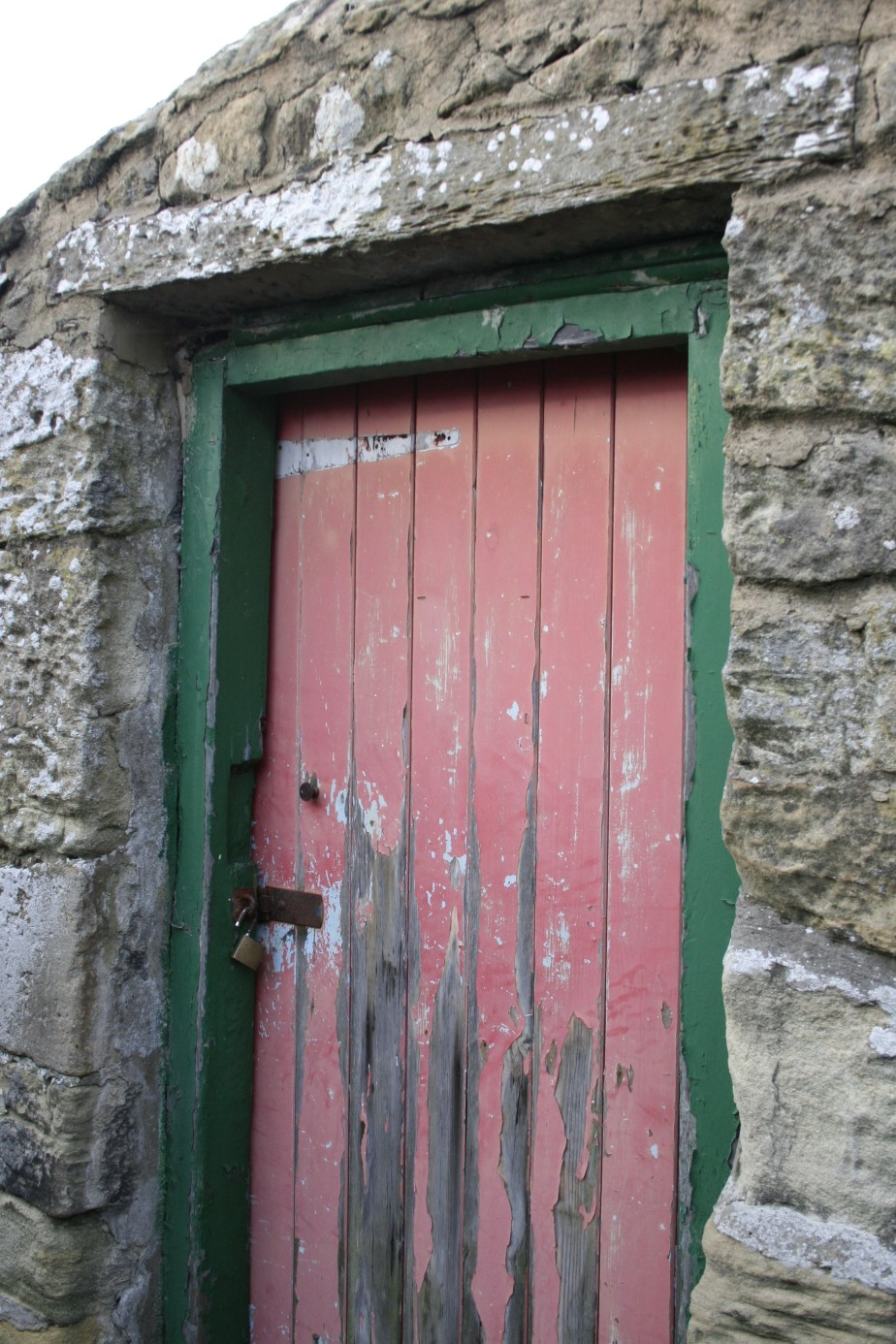 Red painted door in Warkworth