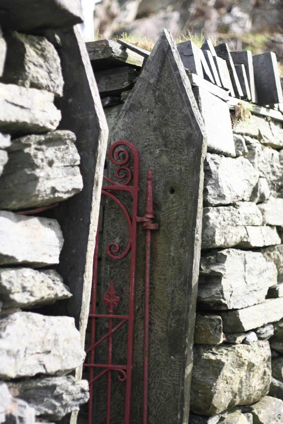 Red iron gate at Blaenau Ffestiniog