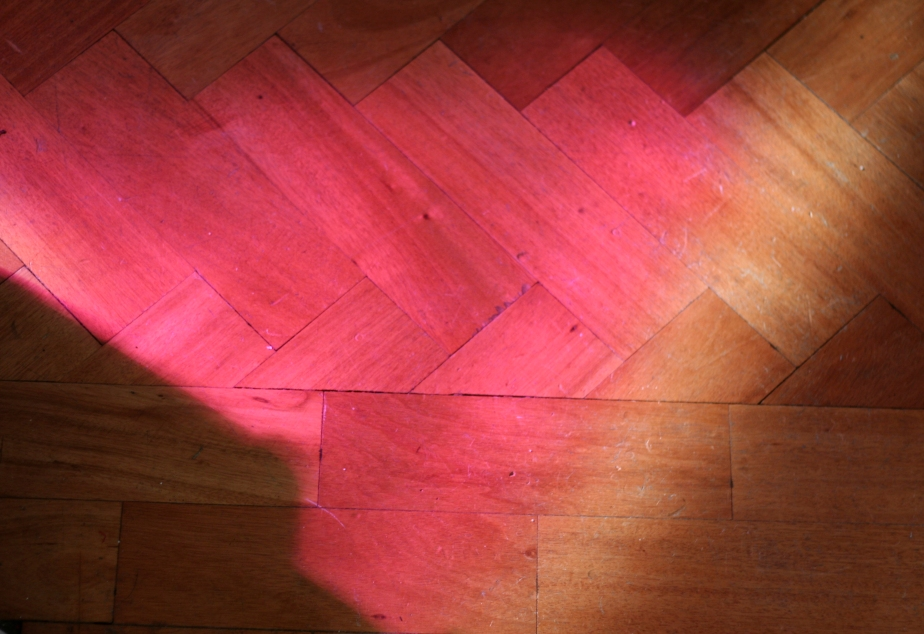 Pink light on the floor