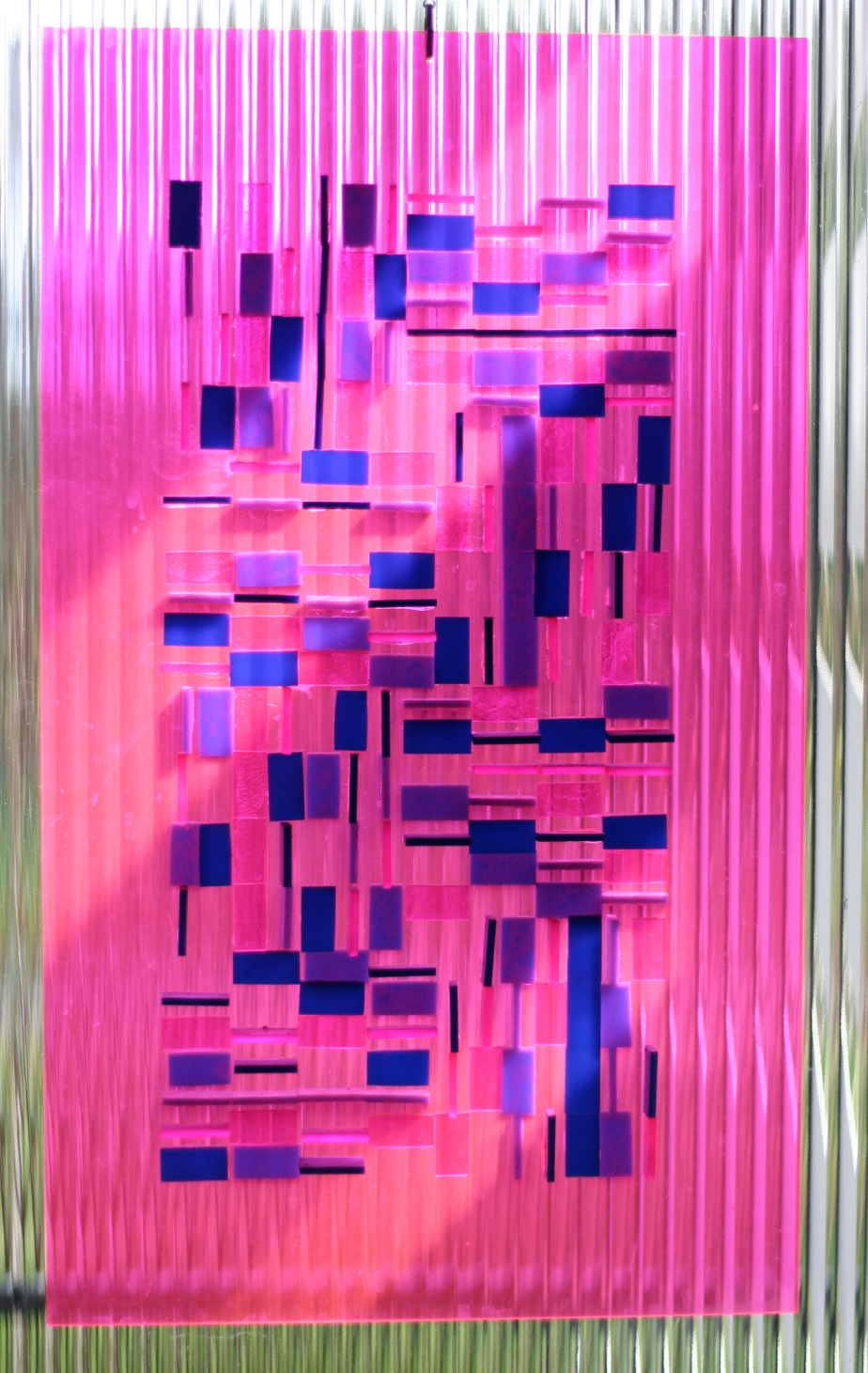 Pink and blue Perspex sculpture by Rosemary Wakelin c1970s