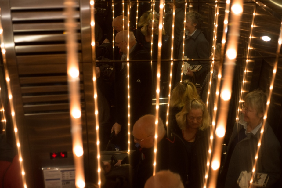 Dazzling inside a mirrored lift