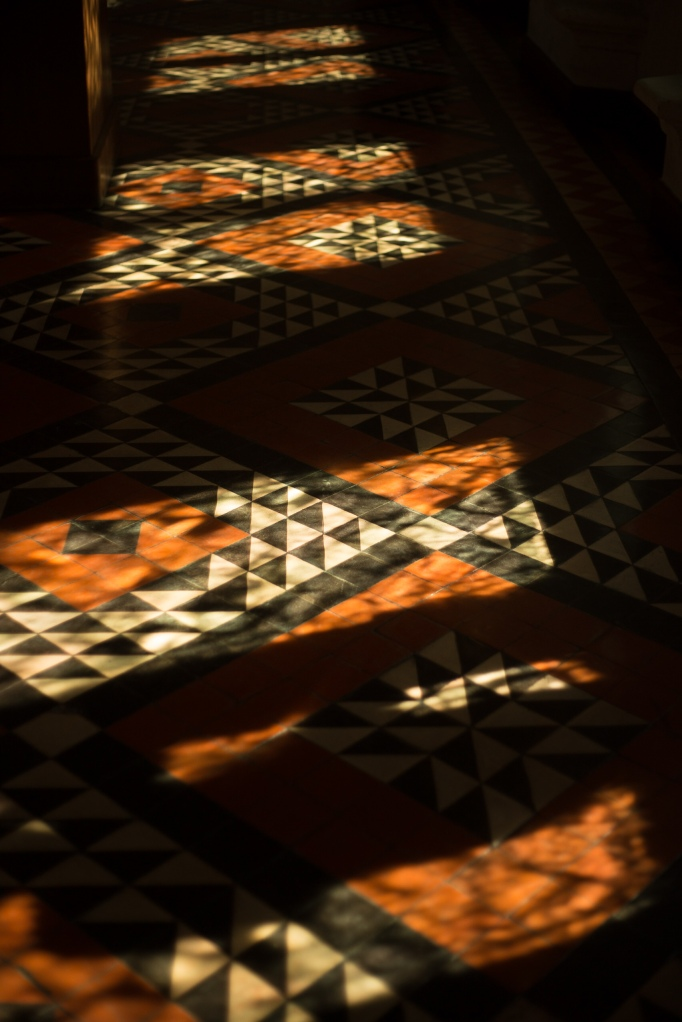 Sunlight and shadow on an intricate tiled floor in the house of Jacques Couer in Bourré