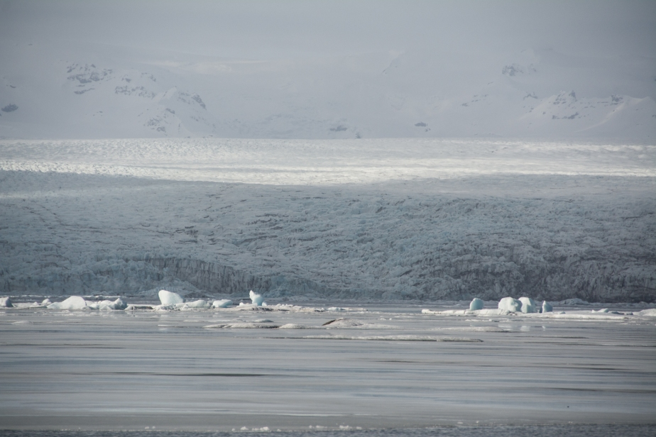 Another glacier where the melt water lagoon allows ice-floes to break up and float slowly down to the sea.