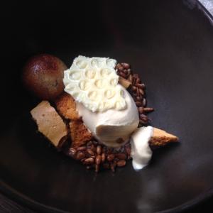 Heather honey ice-cream with Rhubarb spherical sponge-cake, honeycomb and roasted sunflower seeds