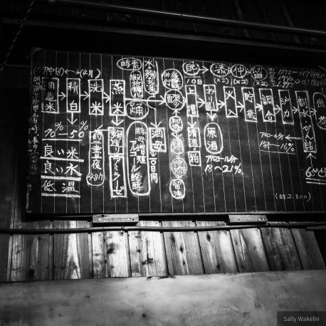 A chalked-up recipe for Sake in a brewery
