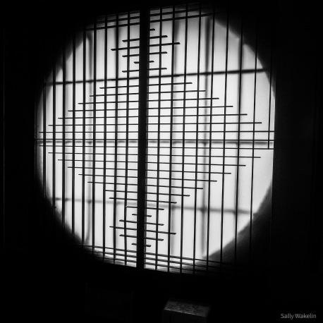 Bamboo screen inside a window